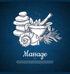 hand drawn spa elements background with vector image
