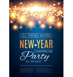 happy hew year poster template fileworks lights vector image