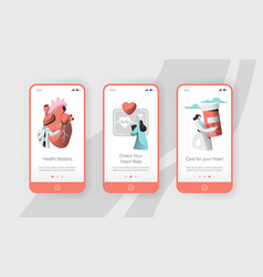 Hospital cardiology care heart health mobile app vector