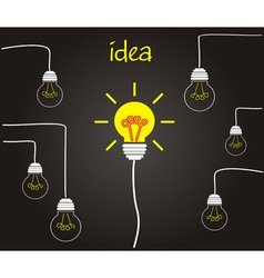 Idea concept - incandescent bulbs on the wires vector