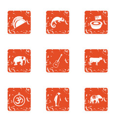 Important animal icons set grunge style vector