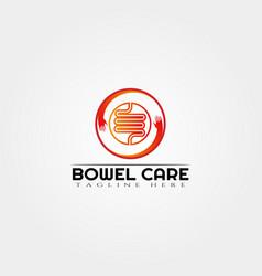 Intestine care logo design bowel logomedical icon vector