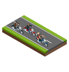 isometric bikers on a motorcycle on road the vector image
