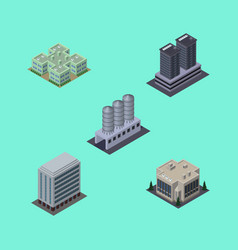 Isometric building set of office tower company vector