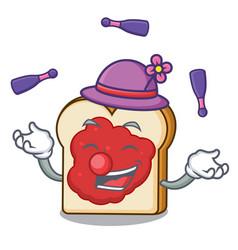 juggling bread with jam mascot cartoon vector image
