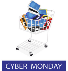 Laptop Computer in Cyber Monday Shopping Cart vector image