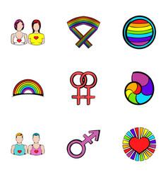 lesbian icons set cartoon style vector image vector image