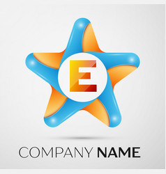 letter e logo symbol in the colorful star on grey vector image