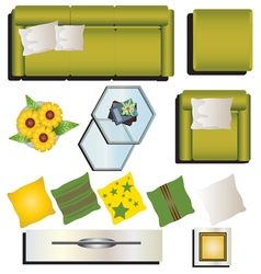 Living room furniture top view set 9 for interior vector image