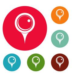 Locate pin icons circle set vector