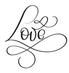 love word on white background hand drawn vector image