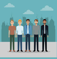 Male group young with urban building vector