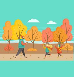 man and children walking in autumn park vector image