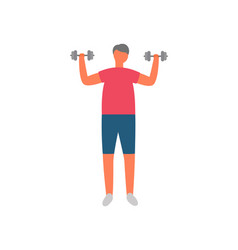 Man with dumbbells morning exercise and sport vector
