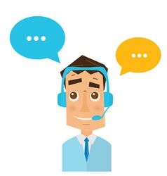 Man with headsets and colorful speech bubbles vector image