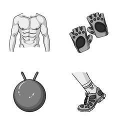 Men s torso gymnastic gloves jumping ball vector