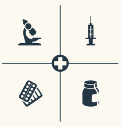 Microscope syringe and pills icons vector
