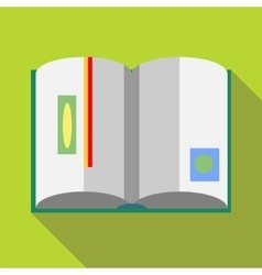 Open book with red bookmark icon flat style vector image