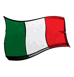 Painted italy flag waving in wind vector