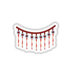 Paper sticker on background of halloween garland vector