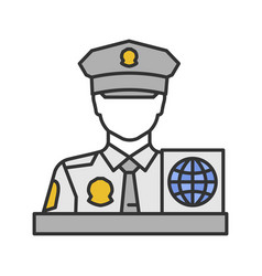 Passport control officer color icon vector