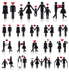people in love icon set vector image