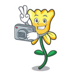 Photographer daffodil flower mascot cartoon vector
