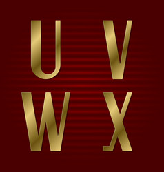 presentable gold font u v w x isolated letters vector image