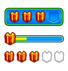 Progress bar with gift boxes vector