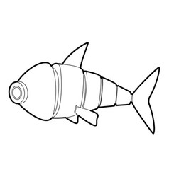 Robot fish icon outline vector