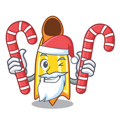 Santa with candy swim fin mascot cartoon vector