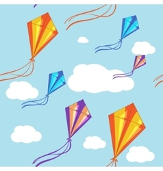 Seamless background with colorful kites in vector