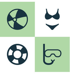 Season icons set collection of dinghy tube vector