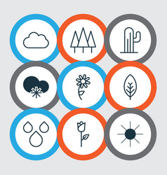 Set of 9 world icons includes tree leaf forest vector