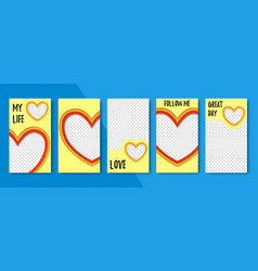 set of abstract heart backgrounds material vector image