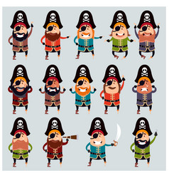 set of flat pirate icons vector image