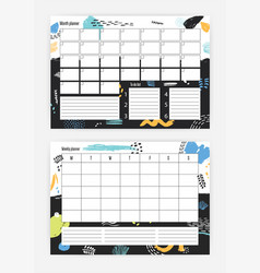 Set of horizontal month and weekly planner vector
