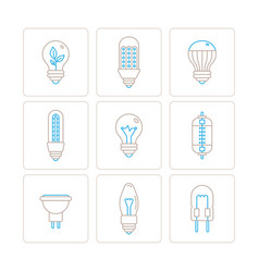 set of light bulb icons and concepts in mono thin vector image