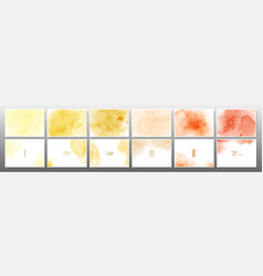 Set yellow orange pastel watercolor background vector