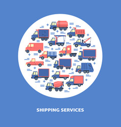 Shipping services round concept with different vector