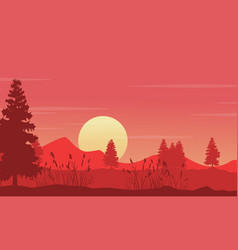 silhouetet of tree with mountain at sunset vector image