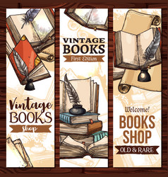sketch banners for old vintage books vector image