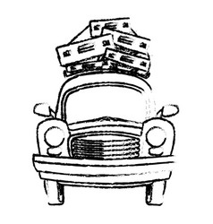 sketch vintage car with suitcases on top traveling vector image