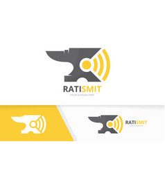 Smith and wifi logo combination blacksmith vector
