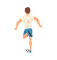 Soccer player in sports uniform kicking ball vector