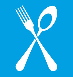 Spoon and fork icon white vector