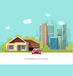Suburb view city buildings behind cottage home vector