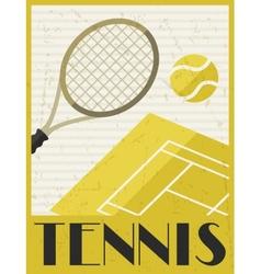 Tennis retro poster in flat design style vector