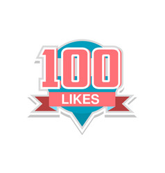 Thank you 100 likes template for social media vector
