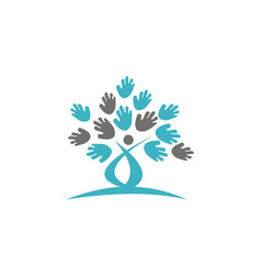 tree hand logo design template vector image
